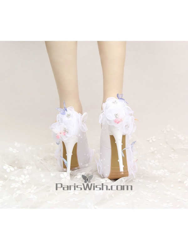 Satin lace flowers white wedding shoes with 14 cm heels online satin lace flowers white wedding shoes with 14 cm heels mightylinksfo