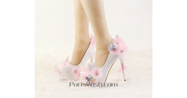 Satin white with pink flowers and butterfly unique wedding shoes satin white with pink flowers and butterfly unique wedding shoes with alternative heels online mightylinksfo