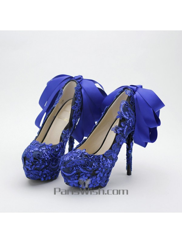 Ultra High Heel Black With Royal Blue Lace Wedding Shoes With Back Bowtie