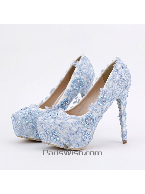 Ultra High Heel Blue With White Lace Wedding Shoes