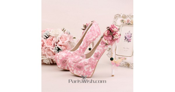Ultra high heel pink lace wedding shoes with tassel and flower online mightylinksfo