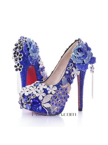Ultra High Heel Rhinestone Flowers Royal Blue Wedding Dresses