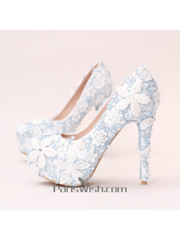 Ultra high heel white with blue lace flowers wedding shoes online ultra high heel white with blue lace flowers wedding shoes mightylinksfo