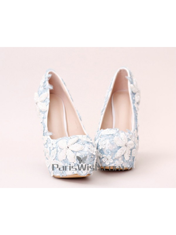 ... Ultra High Heel White With Blue Lace Flowers Wedding Shoes ...