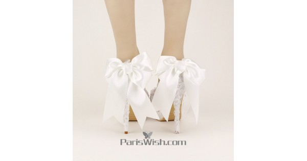 e36dcbc7b0811 White Lace Big Bow Wedding Shoes With Alternative Heels