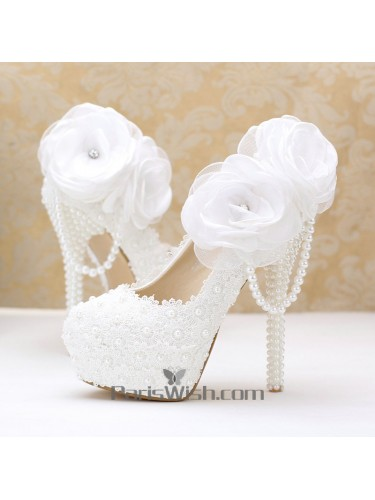 White Lace Flower Ultra High Heel White Wedding Shoes