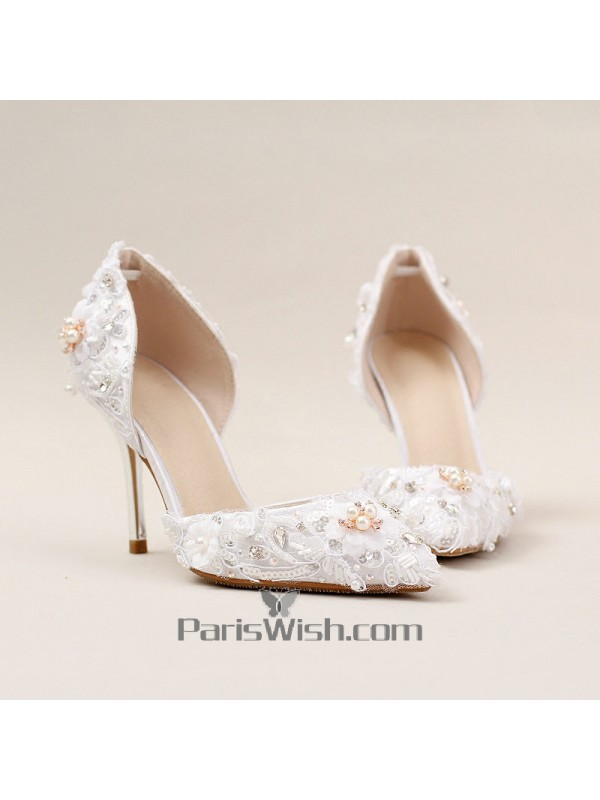92785d0499c6 White Lace Pearl Rhinestone Wedding Shoes With 9 cm Heels Online