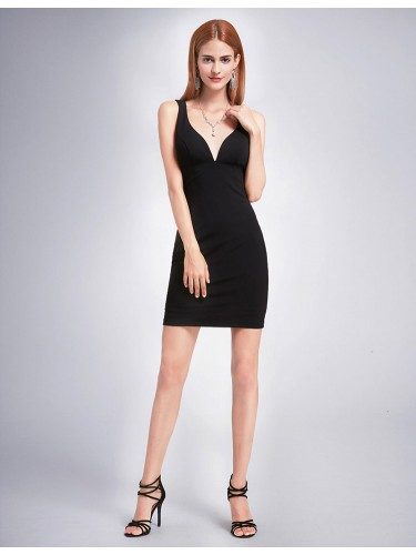 V Plunging Little Black Dress Short Prom Dresses Online