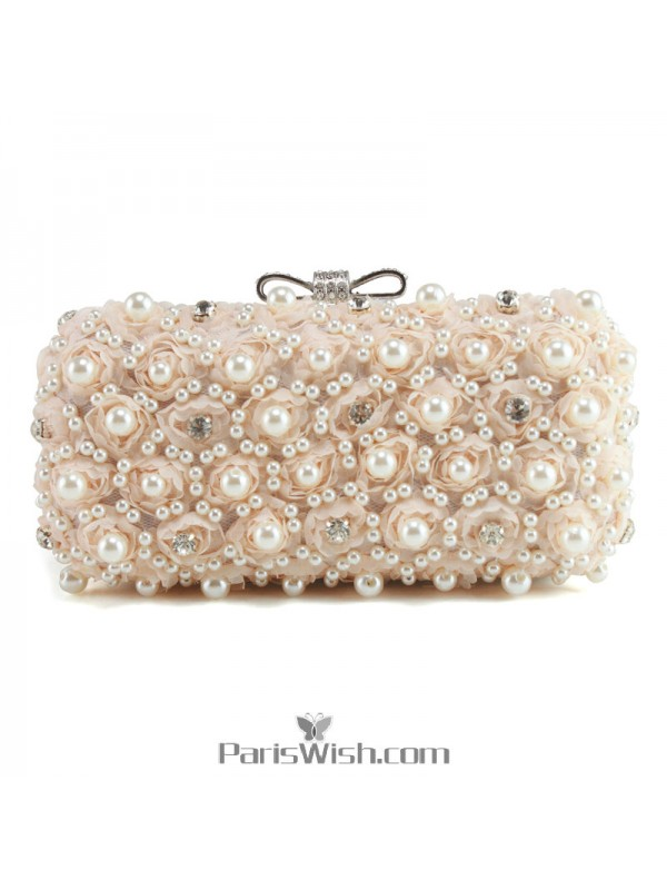 b646a38f1f8 ... White Champagne Black Pearl And Lace Wedding Clutch Evening Bags ...