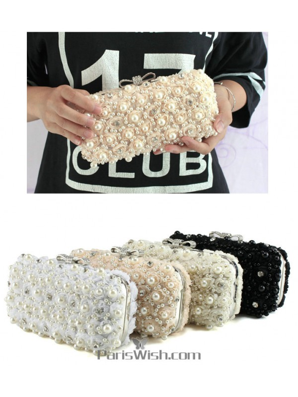 5e6f926849b White Champagne Black Pearl And Lace Wedding Clutch Evening Bags Online