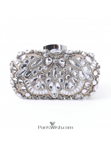 Beaded Rhinestone Silver Jewel Handbag For Wedding