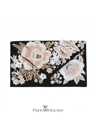 Black Embroidered Flap Envelope Clutches