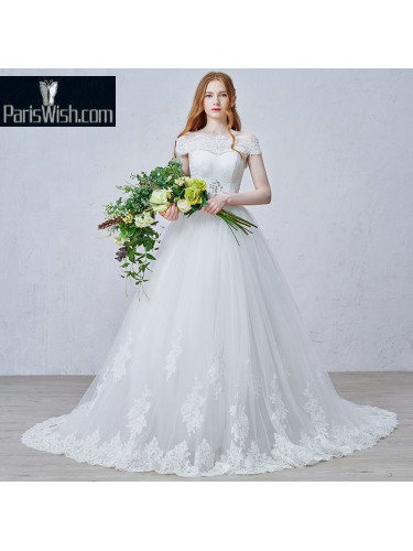 A Line Lace Scalloped Wedding Bridal Dress With Off The Shoulder Neckline
