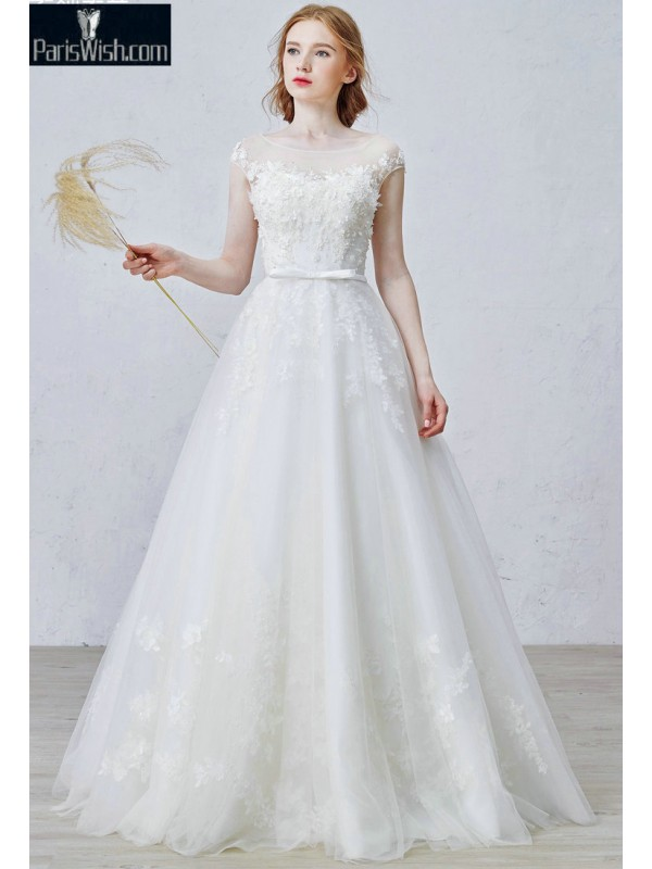 Cap Sleeves Tulle Beaded Vintage Plus Size Wedding Dresses Online