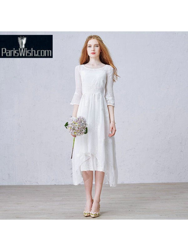 Chiffon Knee Length Two Piece Beach Wedding Dresses Plus Size With ...
