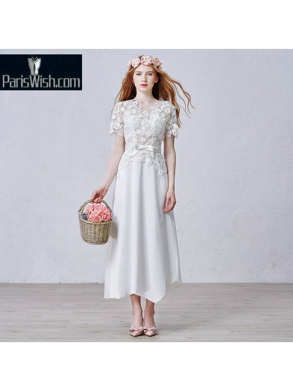 b84551a26d Chiffon Lace Tea Length Plus Size Beach Wedding Dresses With Sleeves ...