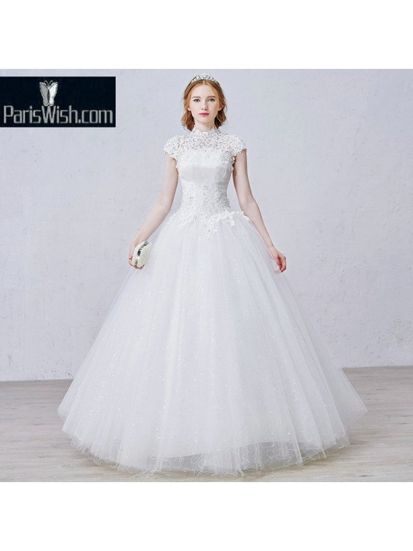 Crinkle Beaded Lace Ball Gown Vintage Plus Size Wedding Dresses