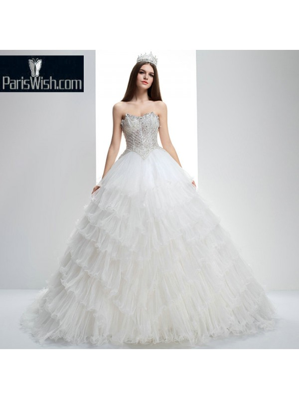 Crinkle Tiered Ball Gown Peplum Wedding Dresses With Beaded Top Online