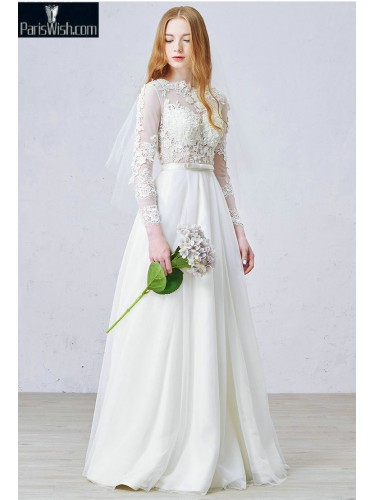 Illusion Bodice Sexy Wedding Bridal Dresses With Long Sleeves