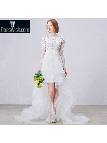 Lace Beaded High Low Beach Bridal Dresses Lace Wedding Dress Online