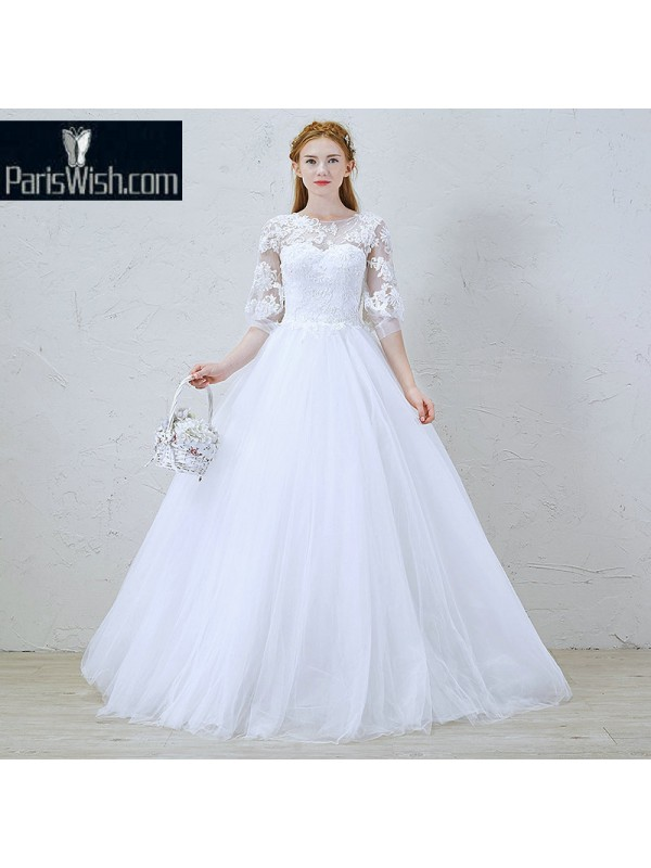 Tulle Ball Gown Bridal Dresses With Half Sleeves And Detachable ...