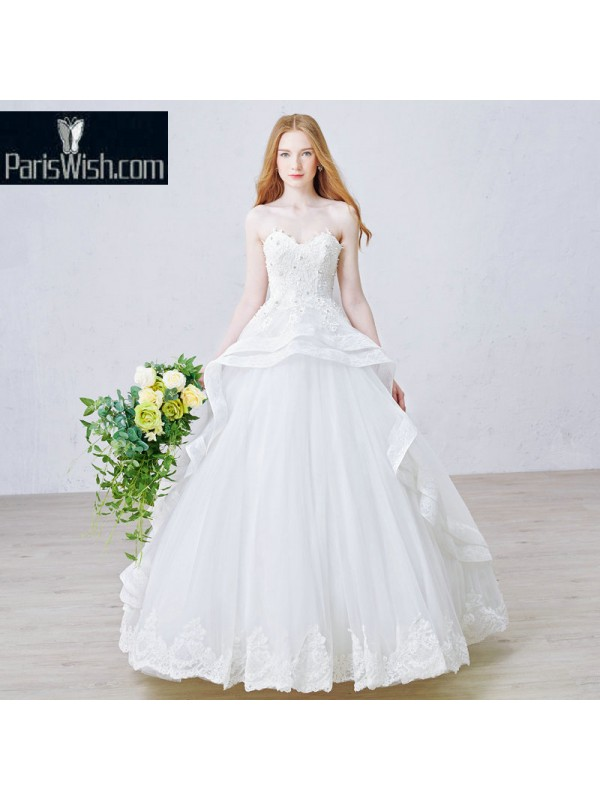 Tulle Beaded Lace Ball Gown Peplum Wedding Bridal Dresses Online
