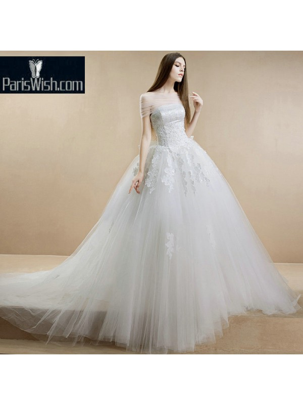 Tulle Embroidered Sequin Beaded Ball Gown Wedding Dress With Convertible  Neckline 7d9f57246