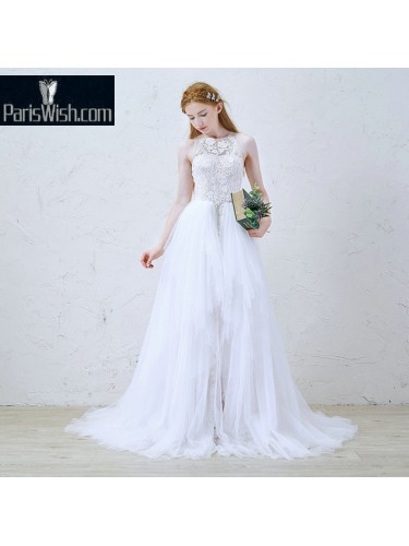 Tulle High Neck Designer Bridal Wedding Gowns
