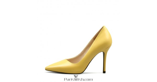 new product buy popular famous brand 4 Inches Heel Pointed Toe Yellow Bridesmaid Shoes