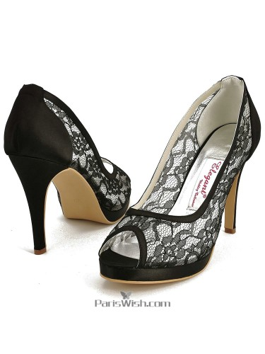 Peep Toe High Heel Black Lace Prom Evening Shoes