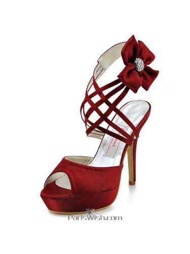 Peep Toe Strappy Ankle Strap Burgundy Evening Wedding High Heels