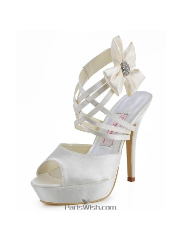 Peep Toe Strappy Ankle Strap Ivory Evening Wedding High Heels