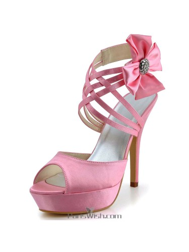 Peep Toe Strappy Ankle Strap Pink Evening Wedding High Heels
