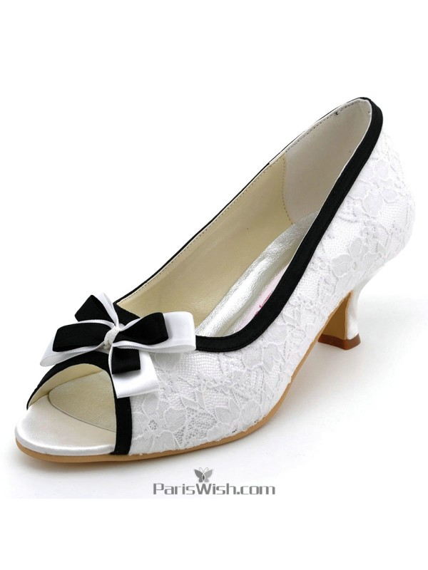 P Toe White With Black Low Heel Lace Wedding Shoes