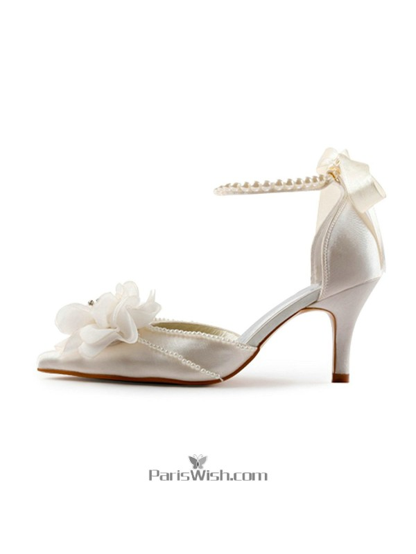 Pointed Toe Pearls And Flowers Ivory Wedding Shoes With Ankle Strap