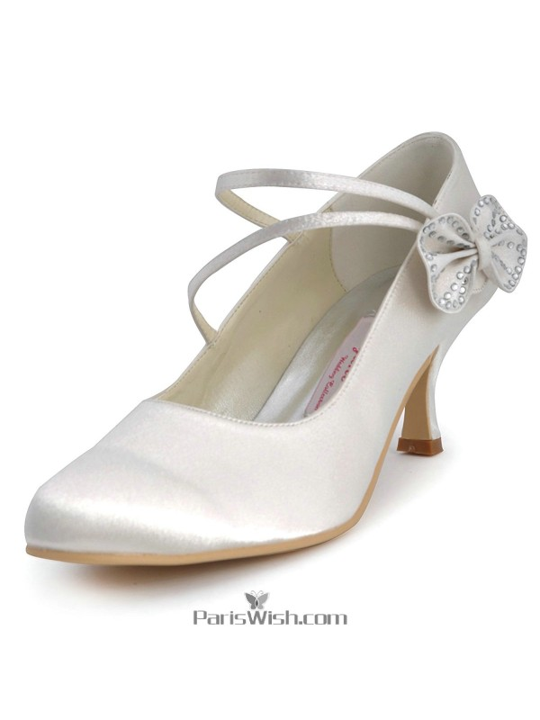 77a70eef6201c Satin Ankle Strap Mid Heel Ivory Wedding Shoes With Bow Online