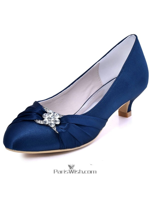 Satin pleated low heel navy blue bridesmaid shoes online satin pleated low heel navy blue bridesmaid shoes junglespirit Image collections
