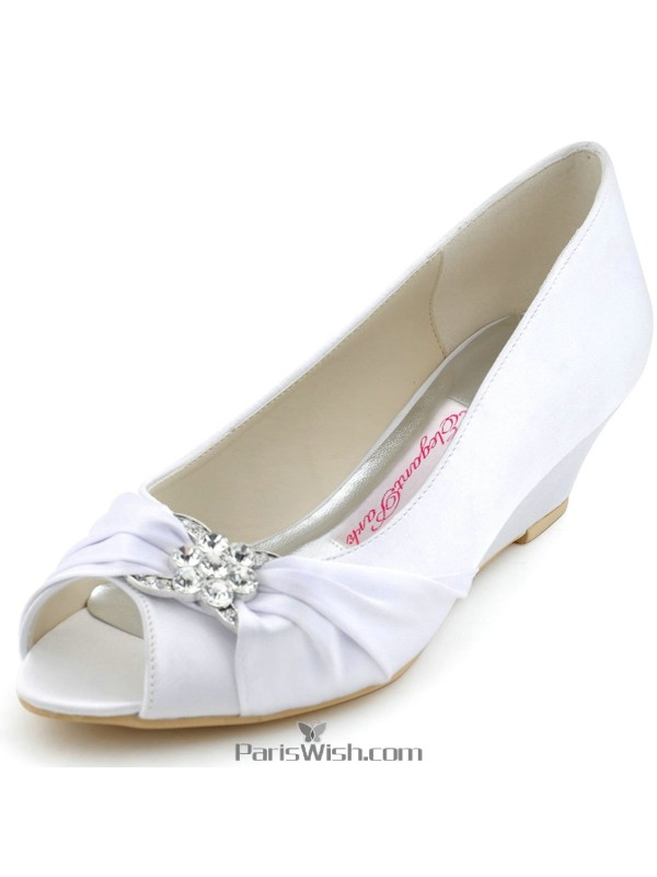 Satin Rhinestone White Low Heel Wedge Bridal Wedding Shoes