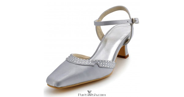 Comfortable Low Heel Wedding Shoes: Square Toe Satin Silver Low Heel Comfortable Wedding Shoes