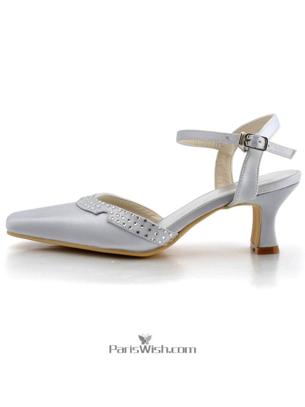 Square Toe Satin Silver Low Heel Comfortable Wedding Shoes Online