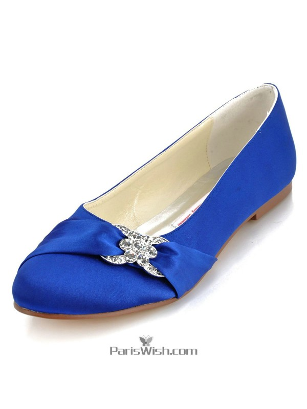 Round Satin Classic Royal Blue Flat Wedding Prom Shoes