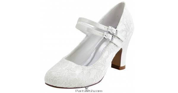 9bc9c98a21599 Round Toe Ankle Strap Ivory Lace Bridal Wedding Shoes With Chunky Heels  Online