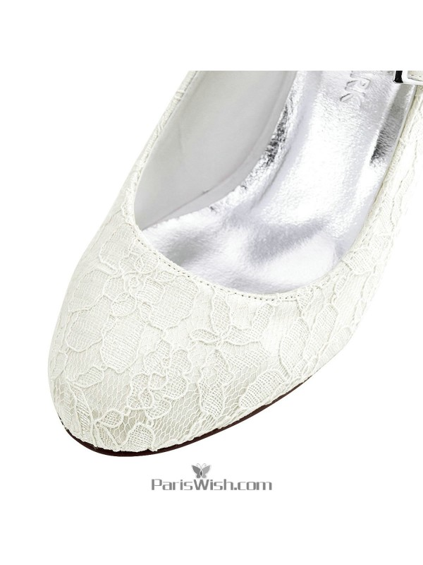 ff5ed91517284 ... Round Toe Ankle Strap Ivory Lace Bridal Wedding Shoes With Chunky Heels  ...