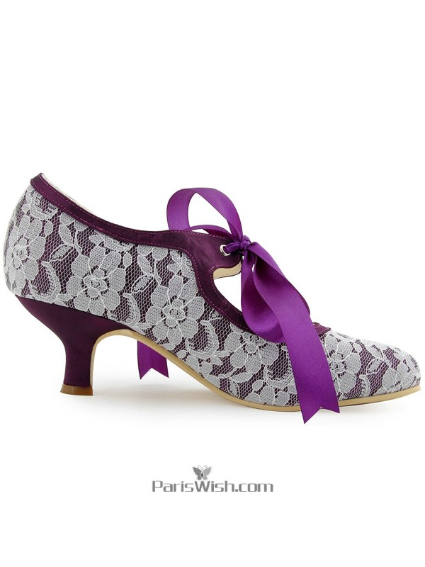 Round Toe Lace Purple With White Evening Wedding Shoes Kitten Low Heel