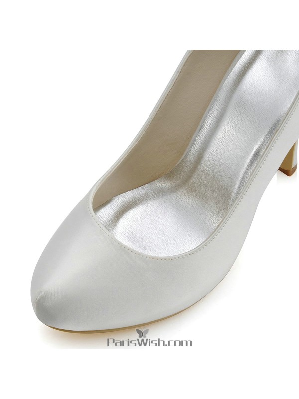 6d47b98662a ... Round Toe Satin High Heel Ivory Evening Prom Wedding Shoes With Rhinestone  Bow Back