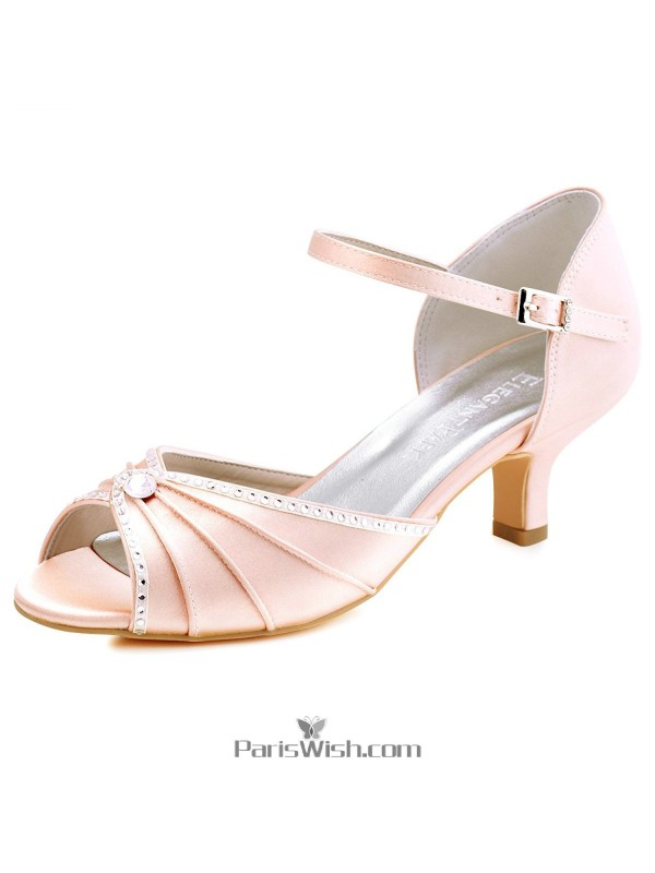 Pleated Crystal Ankle Strap Low Heel Blush Pink Evening Prom