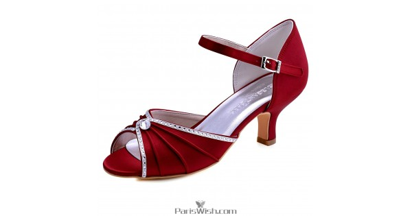 Pleated Crystal Ankle Strap Low Heel Burgundy Evening Prom Wedding