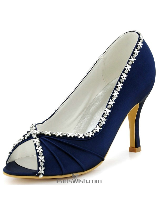 P Toe Satin Navy Blue Evening Wedding Shoes With Crystals