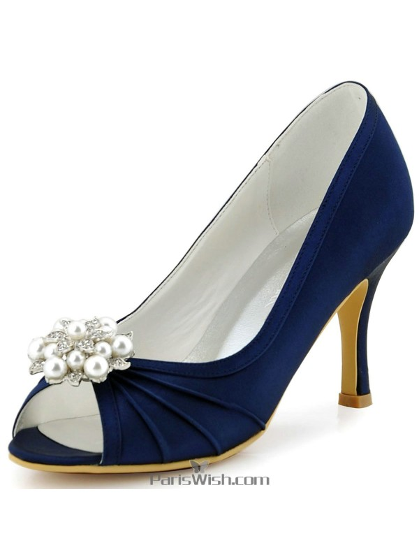 Peep toe satin pleated navy blue evening prom bridesmaid wedding peep toe satin pleated navy blue evening prom bridesmaid wedding shoes junglespirit Image collections