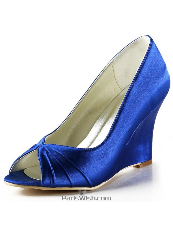 9acd89c775a Peep Toe Satin Royal Blue High Wedge Wedding Prom Shoes Online